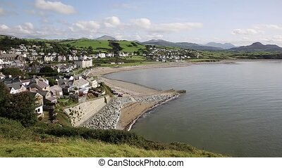 Criccieth North Wales UK beach coast and hills - Criccieth...