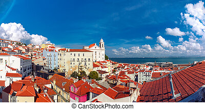 Alfama on a sunny afternoon, Lisbon, Portugal - Panoramic...