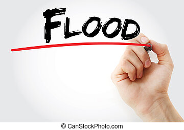 Hand writing Flood with marker, concept background