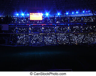night football Arena - Beautiful night football stadium and...