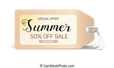 Advertising banner sales with typography. Summer sale 50 percent discount, buy now
