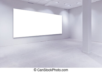 Spot lights and empty white copy space on gallery wall