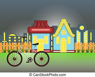 Suburban Houses Front View Building and bicycle with wooden fence and night city silhouette