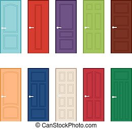 Set of color door icons, vector illustration
