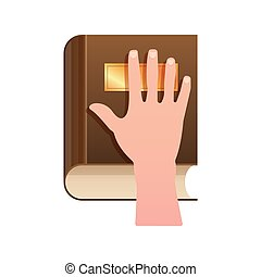 Hand on Constitution as Oath Concept Icon - Hand on...