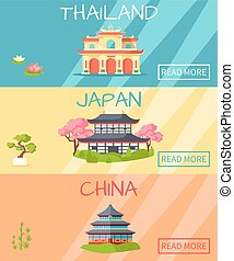Thailand Japan China Traditional Houses and Plants -...