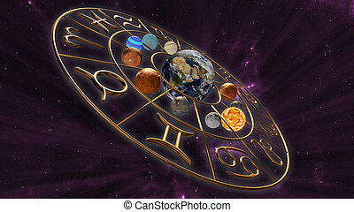 Mystic astrology zodiac horoscope symbol with twelve planets...