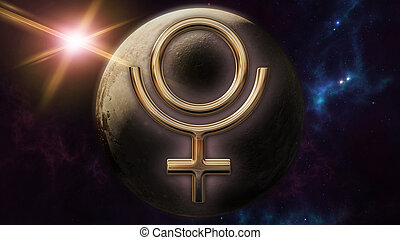 Pluto zodiac horoscope symbol and planet. 3D rendering - 3D...