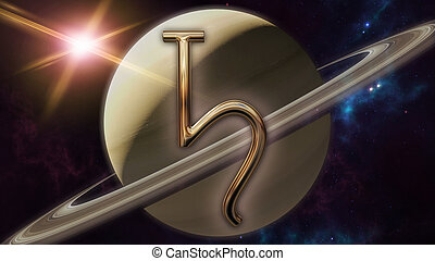 Saturn zodiac horoscope symbol and planet. 3D rendering - 3D...