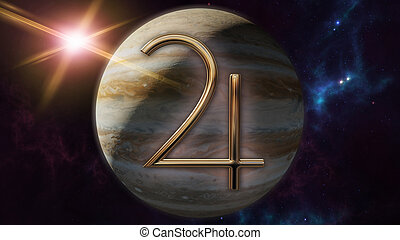 Jupiter zodiac horoscope symbol and planet. 3D rendering -...