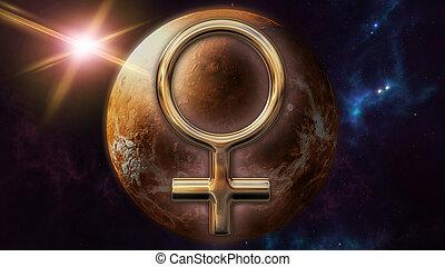 Venus zodiac horoscope symbol and planet. 3D rendering - 3D...