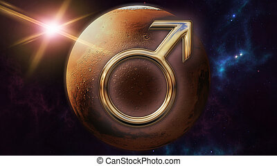 Mars zodiac horoscope symbol and planet. 3D rendering - 3D...