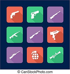 Weapons Icons Flat Design - This image is a illustration and...