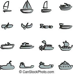 Water Transport Icons Freehand 2 Color - This image is a...