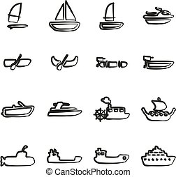 Water Transport Icons Freehand - This image is a...