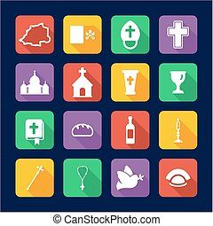 Vatican Icons Flat Design - This image is a illustration and...