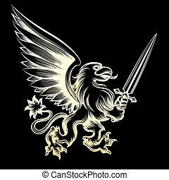 Golden heraldy gryphon with sword on black background....