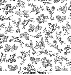 Spice black and white seamless pattern