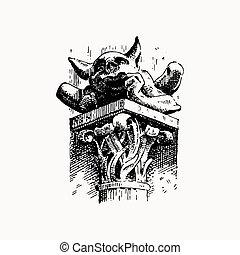 Gargoyle Chimera of Notre-Dame de Paris, engraved, hand...