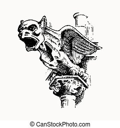 Gargoyle Chimera of Notre-Dame de Paris, engraved, hand...