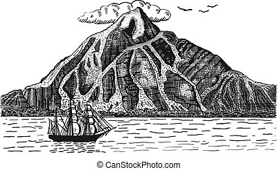 Ocean or sea with ship, sails next to volcano or mountain, hand drawn landscape illustration engraved pirate