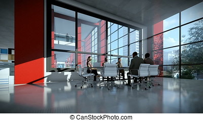 Business team meeting in conference room, tilt