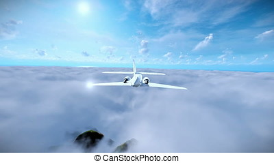 Cessna cruising above clouds and mountain peaks