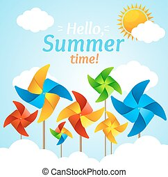 Wind Mill Hello Summer Concept Card. Vector - Wind Mill...