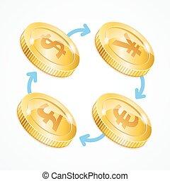 Money Currency Exchange Concept. Vector