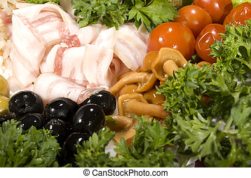 Cold collation - Appetizer with bacon, olives and marinated...