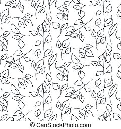 Hand drawn leaves seamless vector pattern. - Hand drawn...