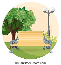 Wooden bench in park with bushes, trees and street lamp