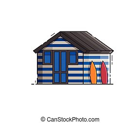 Beach Hut House Vector Illustration - Blue striped beach hut...