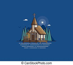 Wooden Church on the Lake