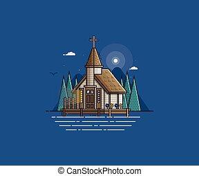 Wooden Church on the Lake - Wooden church on the lake night...