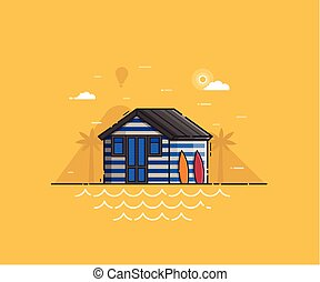 Beach Hut House at Seaside Background - Sea side landscape...