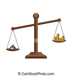 Justice scales icon. Law balance symbol. Libra flat design with gold money coins