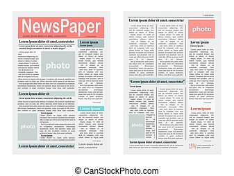 Two Newspaper Pages Vector Illustration on White - Two pages...