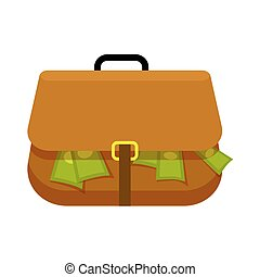 Brown Briefcase Full of Green Money Flat Theme - Brown...
