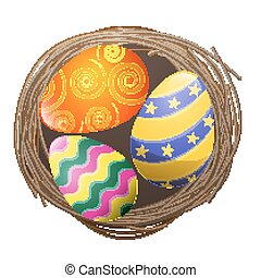 Colored Eggs in Bird Nest Isolated Illustration - Colored...