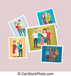 Happy Family Pinned Portraits Flat Vectors Set - Happy...
