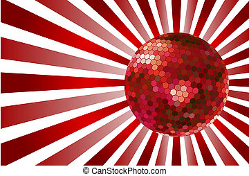 Red disco ball on red twirl background