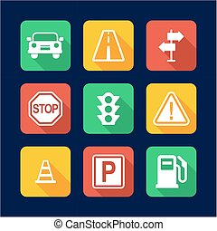 Traffic Icons Flat Design - This image is a illustration and...