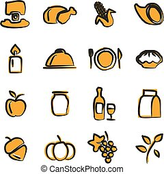 Thanksgiving Icons Freehand 2 Color