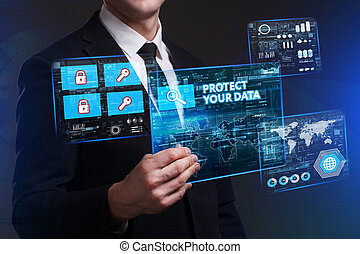 Business, Technology, Internet and network concept. Young businessman working on a virtual screen of the future and sees the inscription: Protect your data