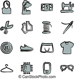 Sweatshop Factory Icons Freehand 2 Color - This image is a...