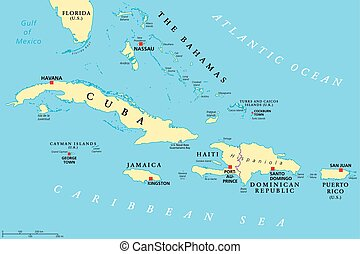 Greater Antilles political map. Caribbean islands. Cuba,...