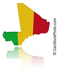 Mali map flag with reflection