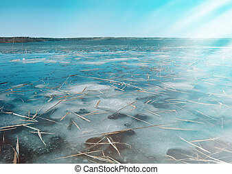 spring flooding on the lake - Russian landscape Arkhangelsk...