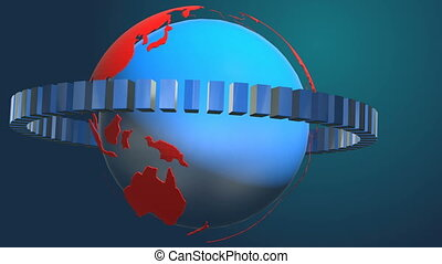 Earth News Opener - Animation news earth globe opening...